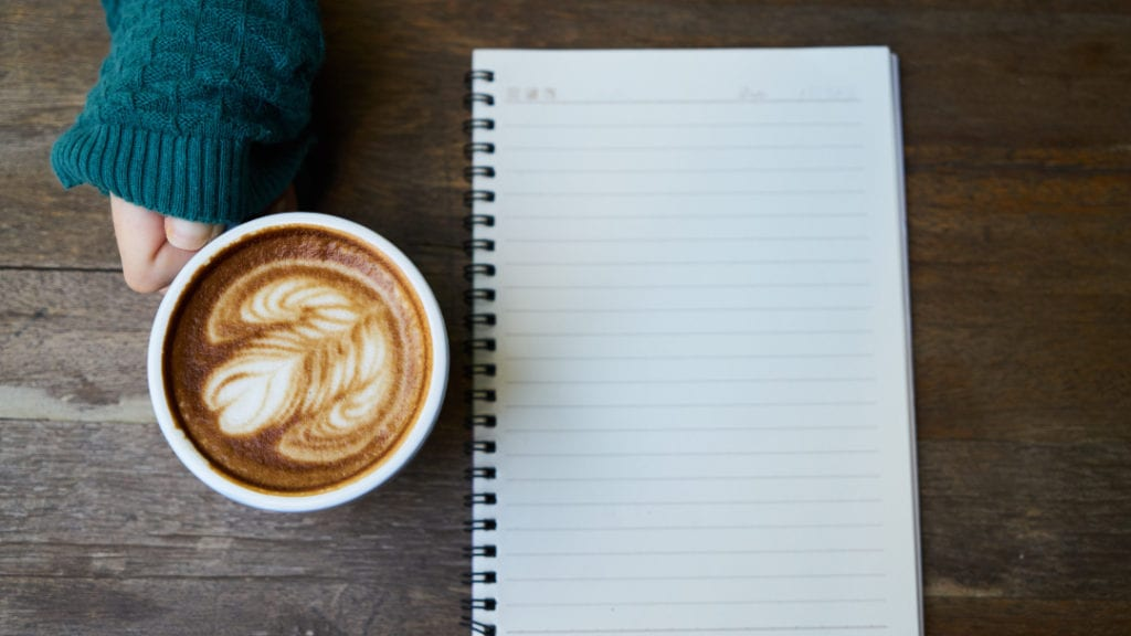 Living with anxiety notepad and coffee